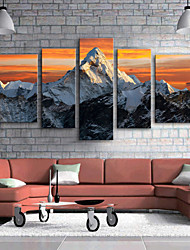 cheap -Stretched Canvas Prints Modern, Five Panels Canvas Vertical Print Wall Decor Home Decoration