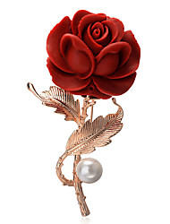 cheap -Women's Bohemian Flower Gold Plated Brooches - Bohemian / Elegant / European Red Brooch For Party / Daily