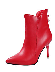 cheap -Women's Shoes PU Winter Comfort Boots High Heel Pointed Toe for Casual Black Red Pink