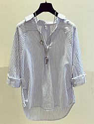 Недорогие -Жен. Очаровательный Уличный стиль Рубашка - Полоски V-образный вырез