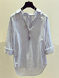 cheap -Women's Work Going out Cute Street chic Cotton Shirt - Striped V Neck
