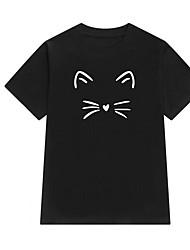 abordables -Mujer Básico / Chic de Calle Algodón Camiseta Geométrico Manga Mariposa