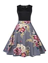 cheap -Women's Vintage Boho Slim A Line Sheath Dress - Floral, Print High Waist