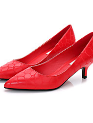 preiswerte -Damen Schuhe PU Frühling Herbst Pumps High Heels Stöckelabsatz Spitze Zehe für Normal Büro & Karriere Schwarz Grau Rot