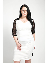 abordables -Femme Grandes Tailles Travail Mince Courte Gaine Robe - Dentelle Ruché, Couleur Pleine Taille haute Col en V