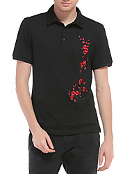 cheap -Men's Polo - Flower / Floral Shirt Collar