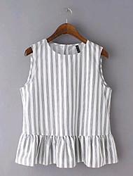 cheap -Women's Cotton Blouse - Striped Print