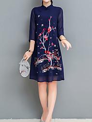 abordables -Femme Grandes Tailles Vacances Sophistiqué / Chinoiserie Mince Gaine Robe - Brodée, Fleur Mao Au dessus du genou
