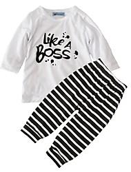 billige -Baby Unisex Aktiv Ferie Stribet / Trykt mønster Trykt mønster Langærmet Bomuld Tøjsæt