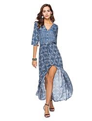 cheap -Women's Going out Boho Cotton Sheath / Swing Dress - Floral Blue, Split / Print Maxi V Neck