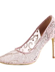 cheap -Women's Shoes Lace / Sparkling Glitter / Tulle Spring / Summer Basic Pump Wedding Shoes Stiletto Heel Peep Toe Sparkling Glitter Light Purple
