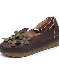 Недорогие -Жен. Обувь Резина Весна Осень Удобная обувь На плокой подошве На плоской подошве Круглый носок для на открытом воздухе Кофейный Зеленый