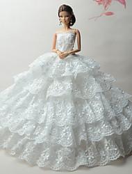 tanie Ubranka dla lalek Barbie-Ślub Sukienki Dla Lalka Barbie Koronka Satyna Ubierać Dla Dziewczyny Lalka Zabawka