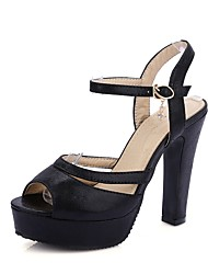cheap -Women's Shoes Leatherette Summer D'Orsay & Two-Piece Sandals Chunky Heel Peep Toe Rhinestone for Casual Party & Evening Black Pink Almond