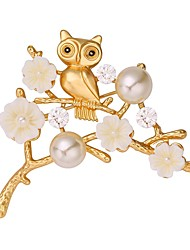 cheap -Women's Brooches Imitation Pearl Animals Sweet Copper Irregular Silver Golden Jewelry For Daily Date