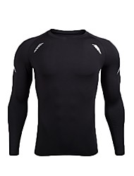 cheap -Men's Running T-Shirt Long Sleeve Breathability Tracksuit / T-shirt for Exercise & Fitness Polyester, POLY Black / Black / White XL / XXL