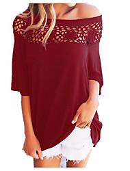 abordables -Tee-shirt Femme, Couleur Pleine Basique Chic de Rue Manche Gigot Bateau