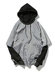 cheap -Men's Loose Hoodie - Solid Colored Block Hooded