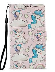 Недорогие -Кейс для Назначение Sony Xperia L2 Xperia XZ2 Бумажник для карт Кошелек со стендом Флип С узором Чехол единорогом Твердый Кожа PU для