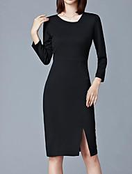 abordables -Mujer Sofisticado Chic de Calle Corte Bodycon Vestido - Retazos, Un Color Hasta la Rodilla