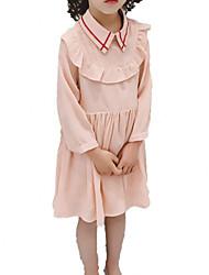 abordables -Robe Fille de Quotidien Vacances Couleur Pleine Coton Polyester Printemps Automne Manches 3/4 simple Décontracté Rose Claire