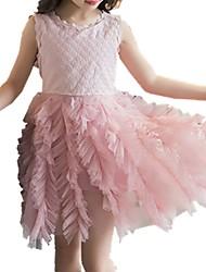 economico -Vestito Ragazza Quotidiano Cotone Tinta unita Primavera Estate Senza maniche Romantico Bianco Rosa