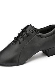 Недорогие -Муж. Обувь для модерна Дерматин На каблуках На низком каблуке Персонализируемая Танцевальная обувь Черный
