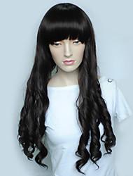 Недорогие -Парики из искусственных волос Волнистый Стрижка каскад Искусственные волосы Природные волосы Черный Парик Жен. Длинные Без шапочки-основы Черный