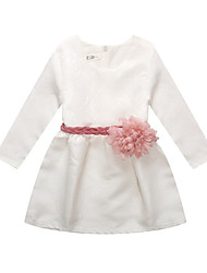 cheap -Girl's Daily Solid Dress, Cotton Linen Bamboo Fiber Acrylic Spring Long Sleeves Simple White
