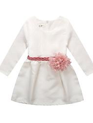 abordables -Robe Fille de Quotidien Couleur Pleine Coton Lin Fibre de bambou Acrylique Printemps Manches Longues simple Blanc