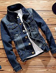 baratos -Homens Jaqueta jeans Sólido Algodão Colarinho Chinês