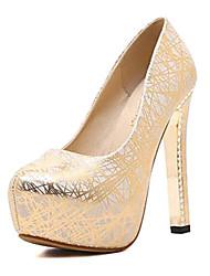 preiswerte -Damen Schuhe Paillette PU Frühling Herbst Pumps Komfort High Heels Plattform für Normal Gold Silber