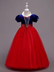 abordables -Robe Fille de Soirée Sortie Couleur Pleine Coton Polyester Printemps Eté Manches Courtes Mignon Bleu Rouge Jaune