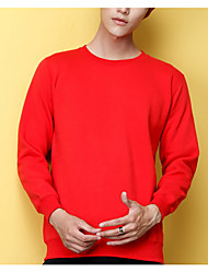 cheap -Men's Long Sleeves Loose Sweatshirt - Solid Colored Round Neck