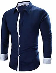 abordables -Hombre Básico Fiesta Retazos - Algodón Camisa Delgado Un Color