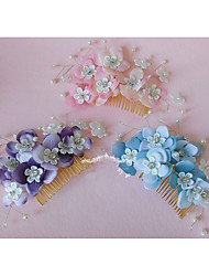 cheap -Alloy Hair Combs Headpiece Hair Accessory with Faux Pearl Lace 1pc Wedding Special Occasion Headpiece