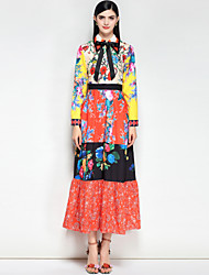 abordables -Mujer Boho Algodón Delgado Corte Swing Vestido - Básico, Floral / Bloques Maxi Cuello Camisero