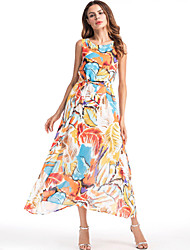 cheap -Women's Beach Boho Slim Chiffon Swing Dress - Rainbow, Print Maxi