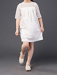cheap -Girls' Vintage / Basic Going out Solid Colored Cut Out / Embroidered Half Sleeve Dress