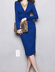 cheap -Women's Sophisticated Flare Sleeve Bodycon Sheath Dress - Solid Colored, Criss-Cross
