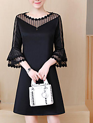 cheap -Women's Plus Size Work Street chic Shift Dress - Color Block Black, Lace