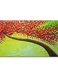 preiswerte -Hang-Ölgemälde Handgemalte - Abstrakt Blumenmuster / Botanisch Zeitgenössisch Modern Segeltuch