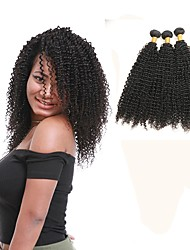 cheap -Indian Hair Kinky Curly Remy Human Hair Natural Color Hair Weaves 3 Bundles Human Hair Weaves Natural Black