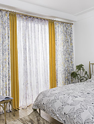 cheap -Curtains Drapes Bedroom Multi Color Graphic Prints Linen&Cotton Blend Printed