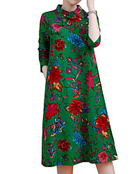 abordables -Femme Chinoiserie Ample Robe - Fendu, Fleur Mao