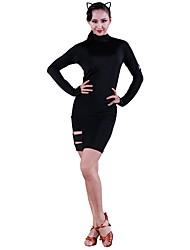 cheap -Latin Dance Dresses Women's Training Ice Silk Split Joint Long Sleeves Natural Dress