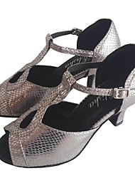 cheap -Women's Latin Shoes Other Animal Skin Heel Customized Heel Customizable Dance Shoes Gray / Indoor