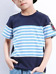 economico -Da ragazzo Quotidiano Scuola Fantasia geometrica Con stampe T-shirt, Cotone Estate Manica corta Attivo Arancione Grigio Royal Blue