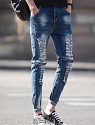 Недорогие -мужские штаны среднего роста микро-эластичные джинсовые брюки, марочное твердое волокно из бамбукового волокна из хлопка