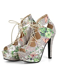 cheap -Women's Shoes Linen Spring / Summer Ankle Strap Sandals Stiletto Heel Peep Toe Bowknot Green / Pink / Party & Evening / Lace up
